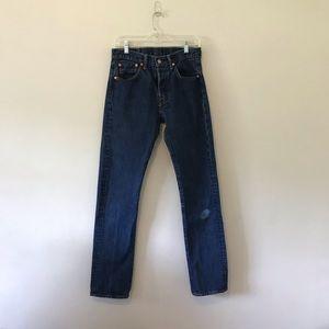 Levi 501 Dark Wash Distressed Denim Jeans